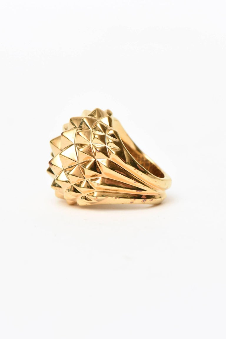 Women's Stephen Webster Gold Plate Over Sterling Silver Stud Dome Ring  For Sale
