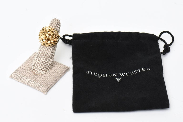 Stephen Webster Gold Plate Over Sterling Silver Stud Dome Ring  For Sale 5