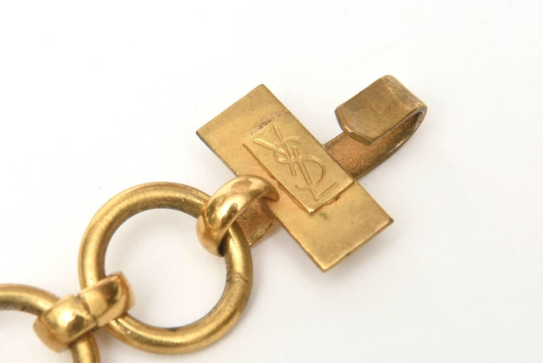 Yves Saint Laurent Brass Link Necklace Vintage For Sale 2