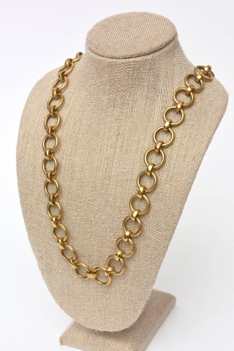 Yves Saint Laurent Brass Link Necklace Vintage For Sale 3