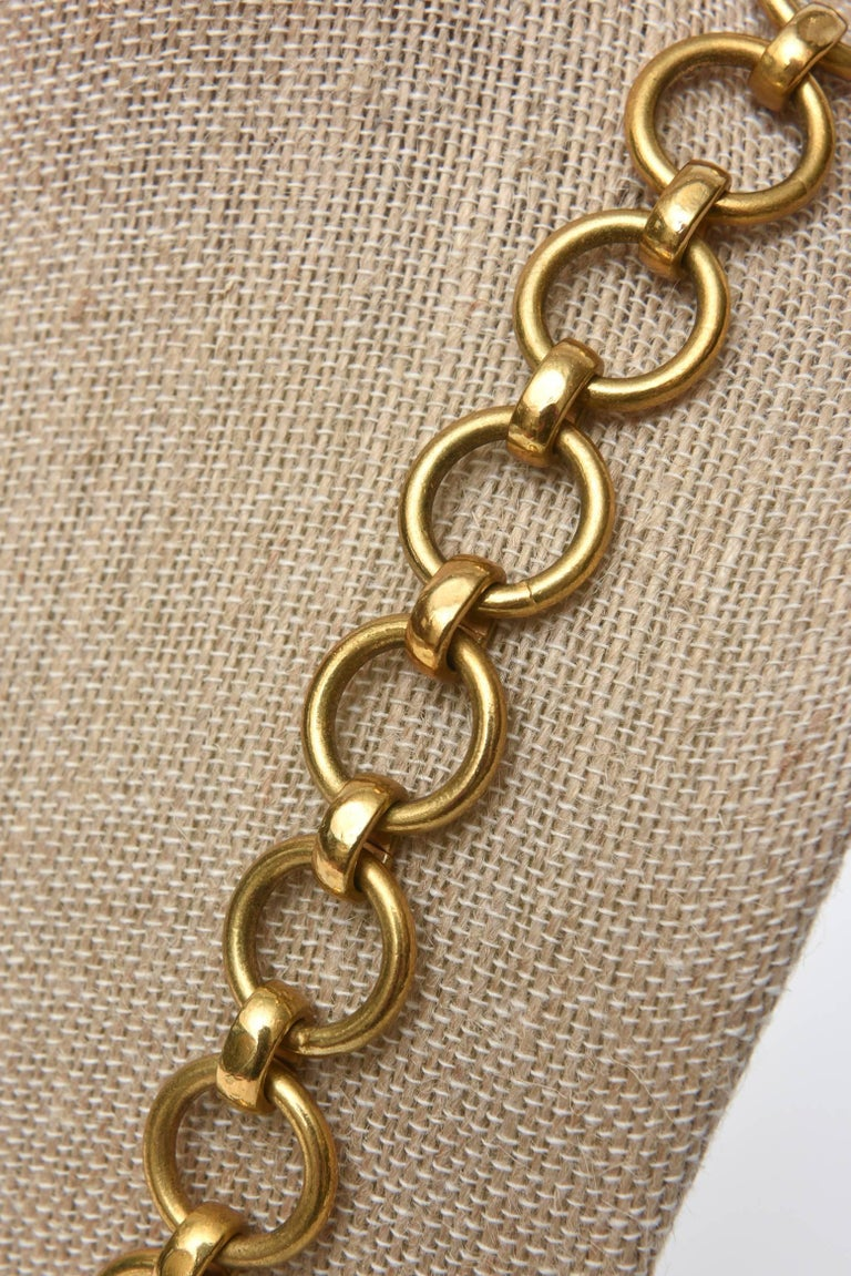 Yves Saint Laurent Brass Link Necklace Vintage For Sale 4