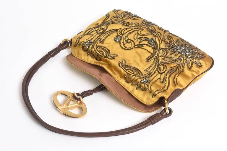 Valentino Silk Satin & Leather Sequined/ Crystals Clutch/ Shoulder Bag 2