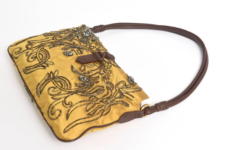 Valentino Silk Satin & Leather Sequined/ Crystals Clutch/ Shoulder Bag 4