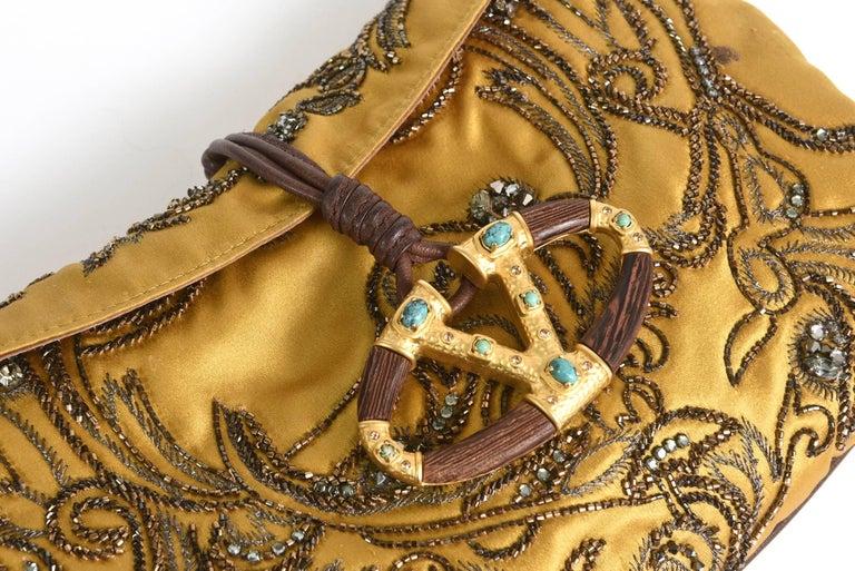 Valentino Silk Satin & Leather Sequined/ Crystals Clutch/ Shoulder Bag 7