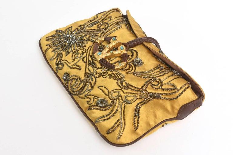 Valentino Silk Satin & Leather Sequined/ Crystals Clutch/ Shoulder Bag 8
