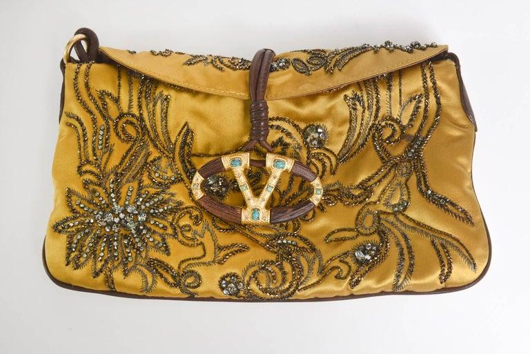 Valentino Silk Satin & Leather Sequined/ Crystals Clutch/ Shoulder Bag 5