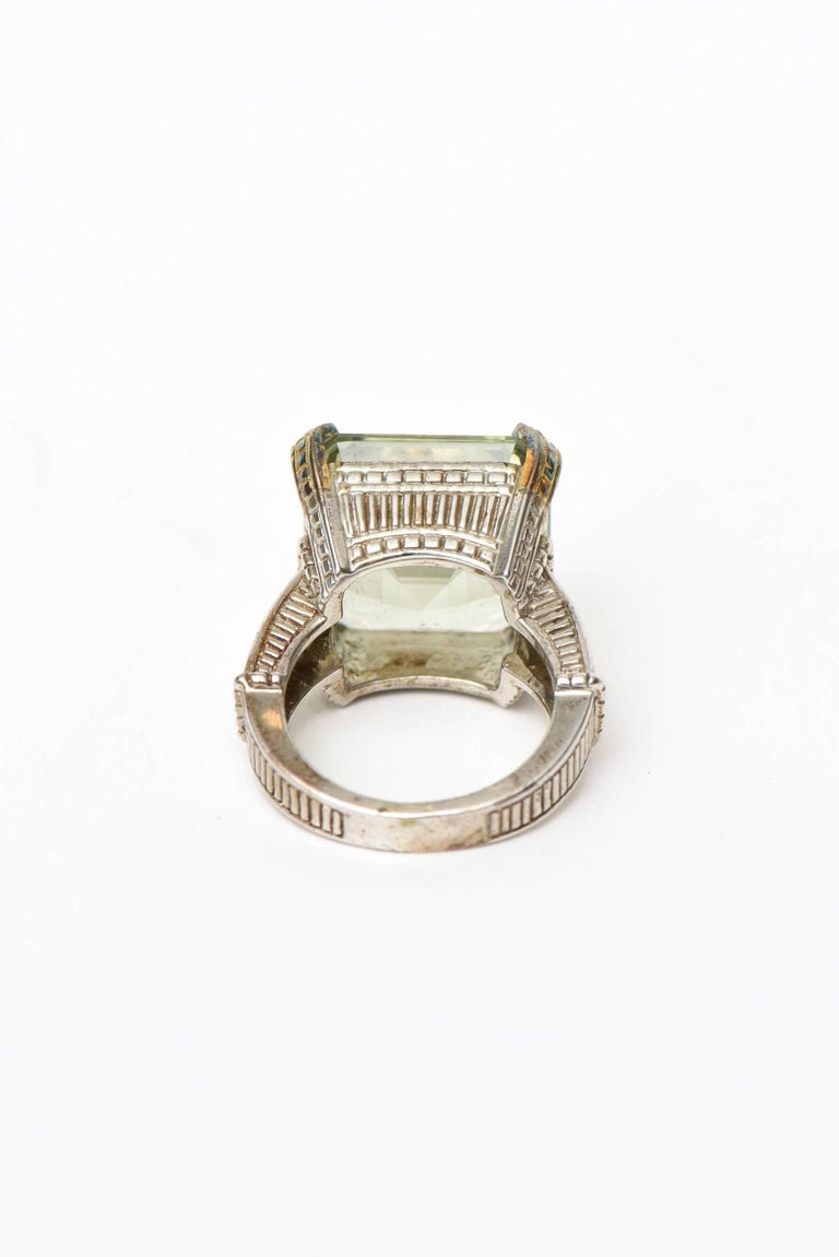 Judith Ripka Green Amethyst Diamond White Gold Sterling Silver Ring In Excellent Condition For Sale In North Miami, FL