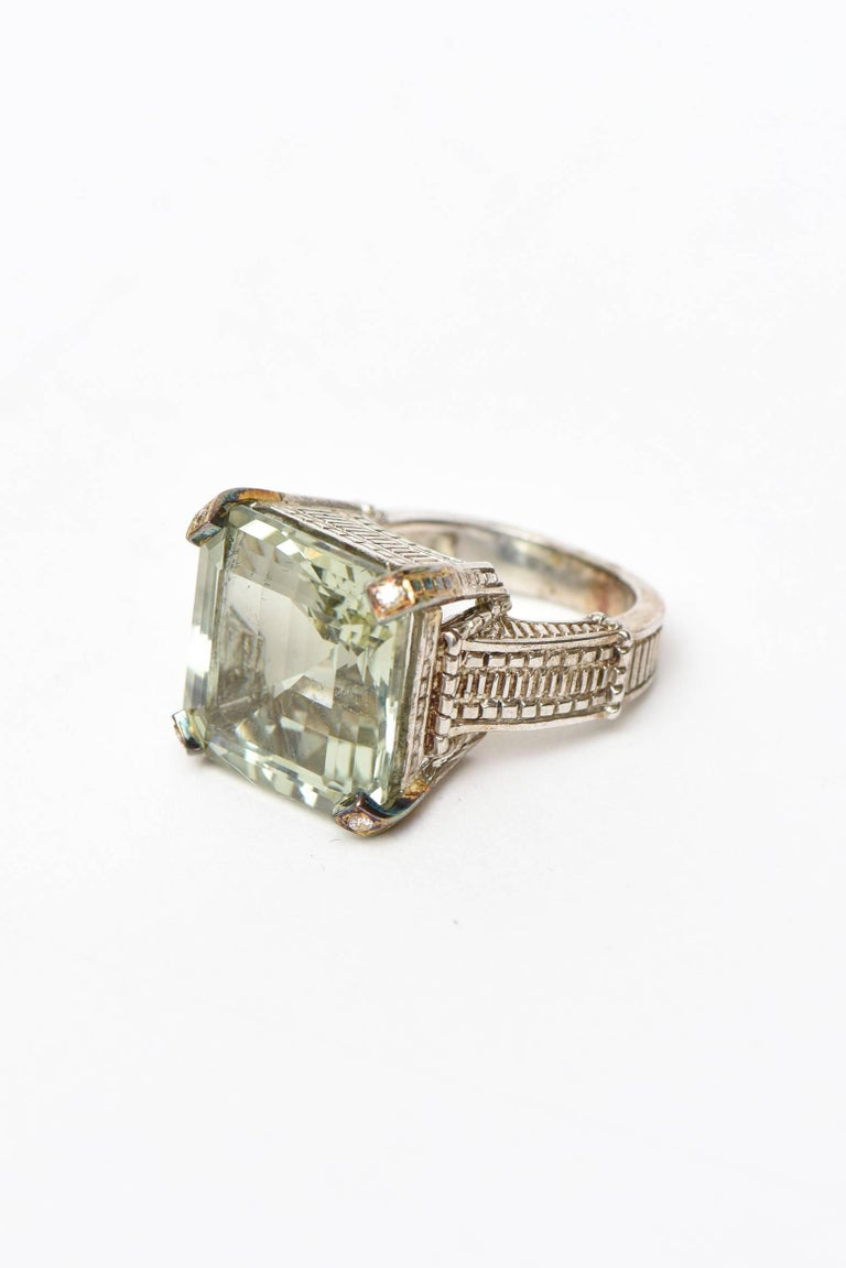 Modern Judith Ripka Green Amethyst Diamond, !8K White Gold and Sterling Silver Ring For Sale