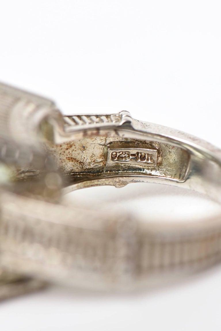 Judith Ripka Green Amethyst Diamond White Gold Sterling Silver Ring For Sale 3