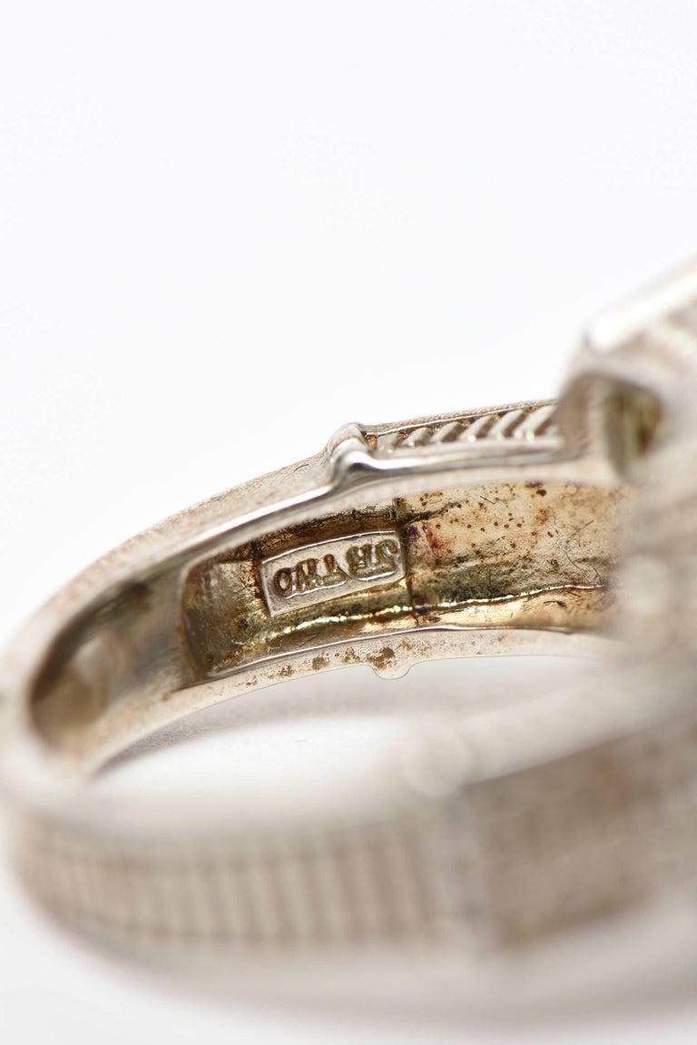 Judith Ripka Green Amethyst Diamond White Gold Sterling Silver Ring For Sale 4