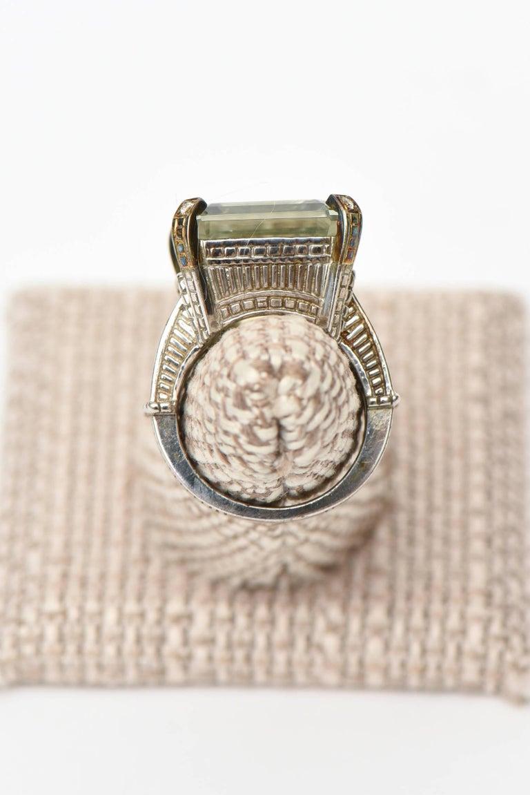 Judith Ripka Green Amethyst Diamond White Gold Sterling Silver Ring For Sale 2