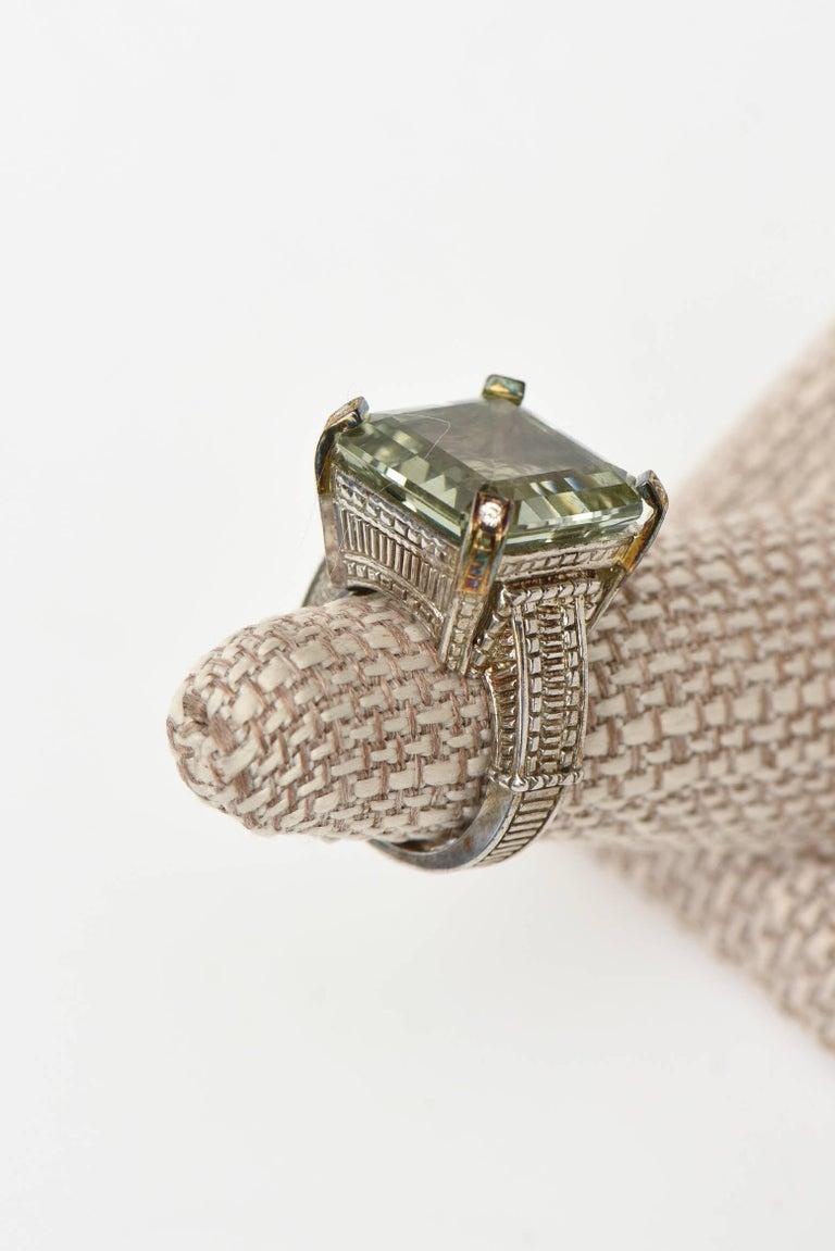 Women's Judith Ripka Green Amethyst Diamond White Gold Sterling Silver Ring For Sale