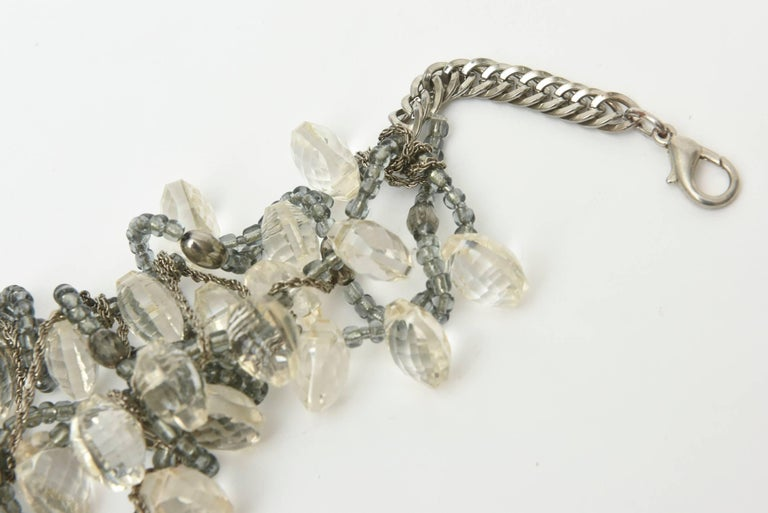 Stunning Faceted Lucite, Chain, Beads And Silver Bib Multi Strand Necklace For Sale 1