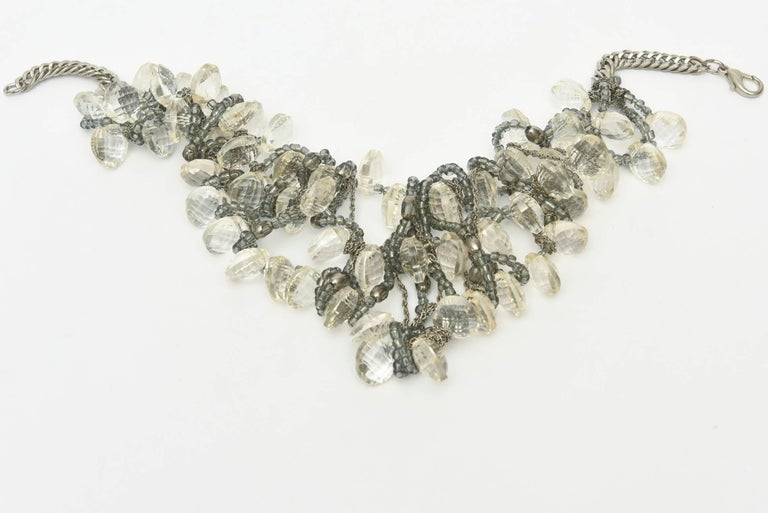 Stunning Faceted Lucite, Chain, Beads And Silver Bib Multi Strand Necklace In Excellent Condition For Sale In North Miami, FL