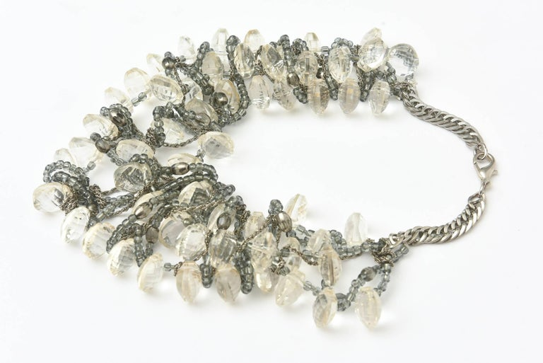 Modern Stunning Faceted Lucite, Chain, Beads And Silver Bib Multi Strand Necklace For Sale