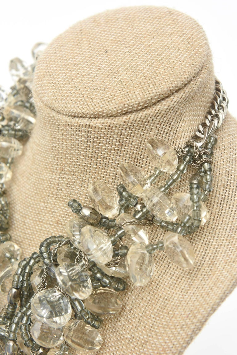Stunning Faceted Lucite, Chain, Beads And Silver Bib Multi Strand Necklace For Sale 5