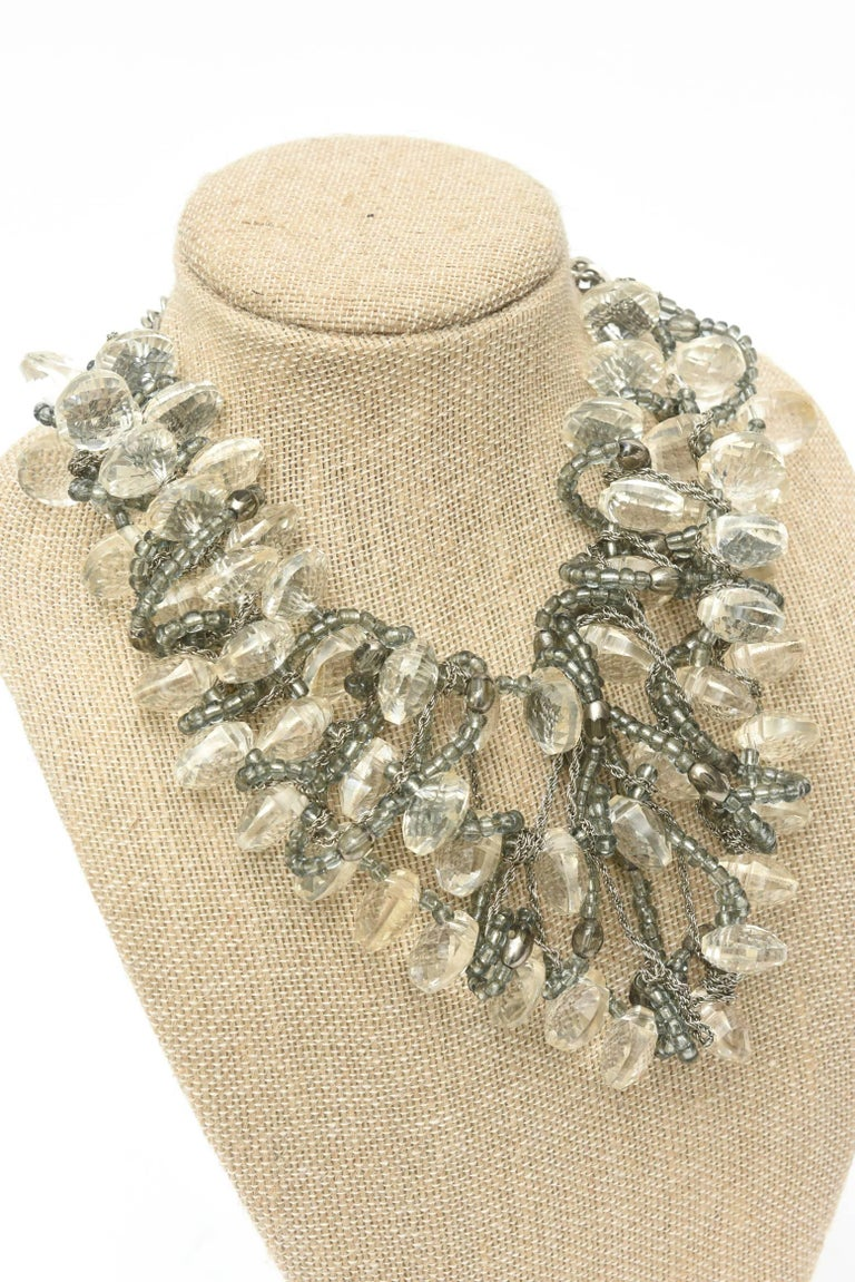 Stunning Faceted Lucite, Chain, Beads And Silver Bib Multi Strand Necklace For Sale 3