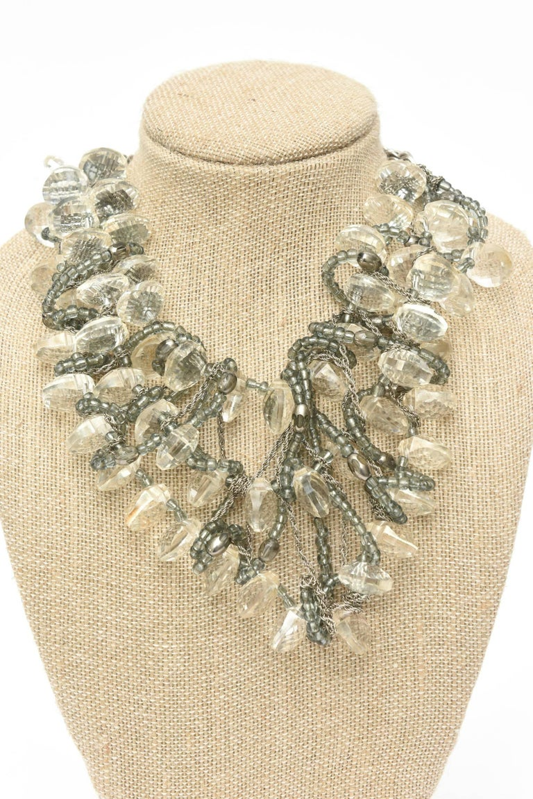Stunning Faceted Lucite, Chain, Beads And Silver Bib Multi Strand Necklace For Sale 4