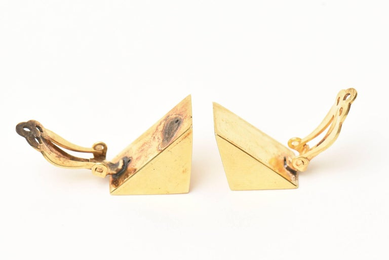 Custom Vermeil Over Sterling Silver Sculptural Clip on Earrings  For Sale 2