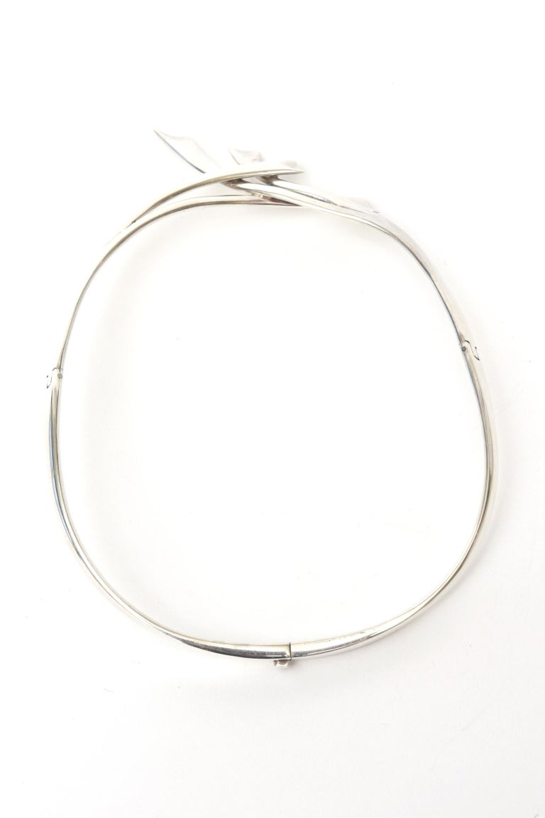 Women's Sterling Silver Hallmarked Sigi Mid Century  Modern Sculptural Collar Necklace For Sale