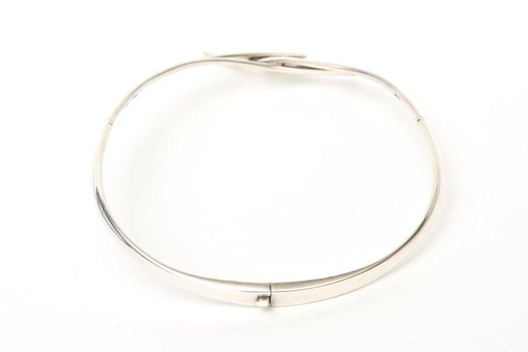 Sterling Silver Hallmarked Sigi Mid Century  Modern Sculptural Collar Necklace For Sale 1