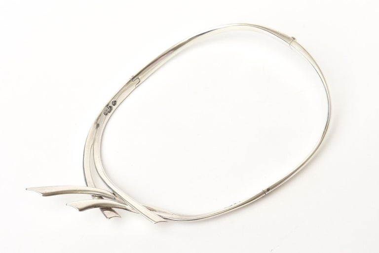 Sterling Silver Hallmarked Sigi Mid Century  Modern Sculptural Collar Necklace For Sale 2
