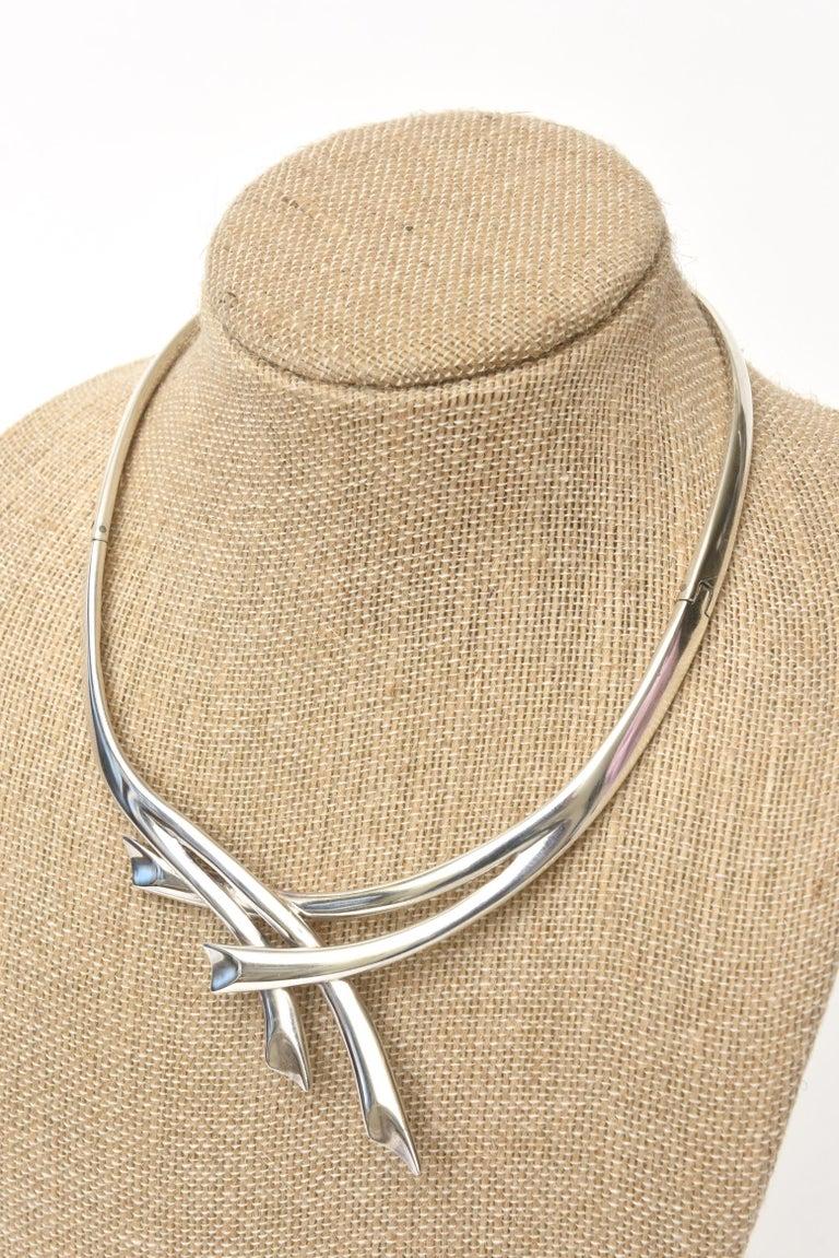 Modernist Sterling Silver Hallmarked Sigi Mid Century  Modern Sculptural Collar Necklace For Sale