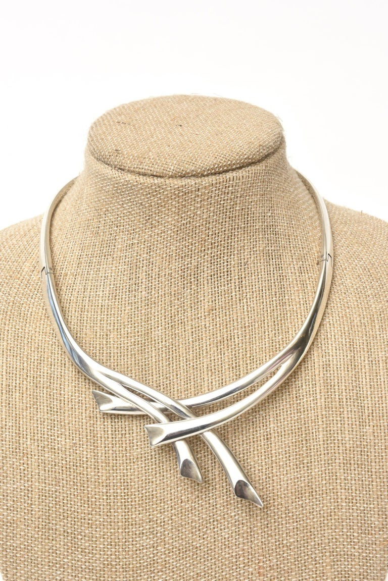 Sterling Silver Hallmarked Sigi Mid Century  Modern Sculptural Collar Necklace In Good Condition For Sale In North Miami, FL