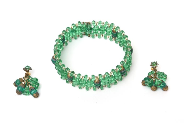 Miriam Haskell Beaded Green Glass Choker & Matching Dangle Earrings Set Vintage For Sale 3