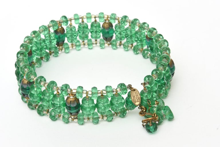 Modern  Miriam Haskell Beaded Green Glass Choker & Matching Dangle Earrings Set Vintage For Sale