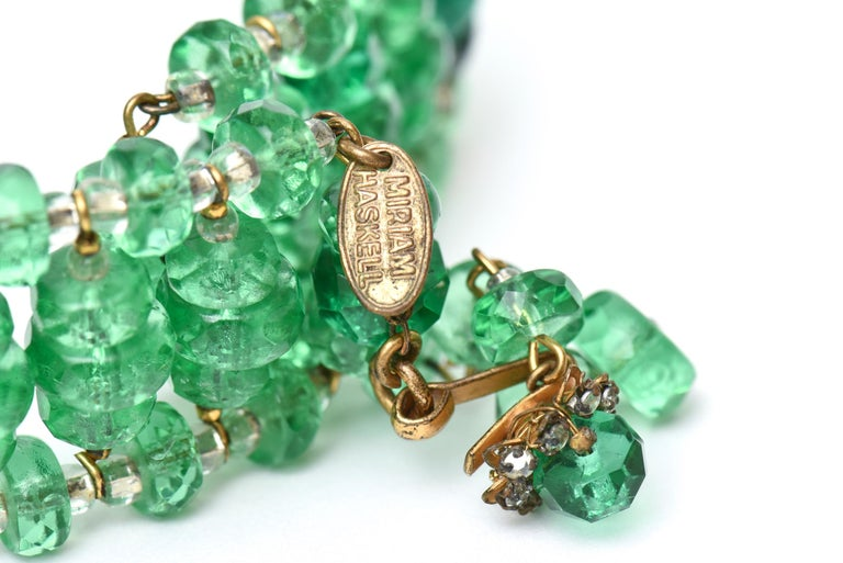 Miriam Haskell Beaded Green Glass Choker & Matching Dangle Earrings Set Vintage In Good Condition For Sale In North Miami, FL