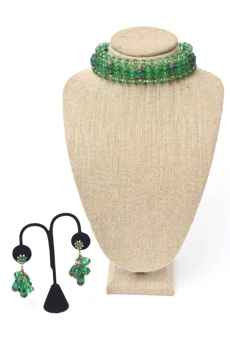 Miriam Haskell Beaded Green Glass Choker & Matching Dangle Earrings Set Vintage For Sale 4