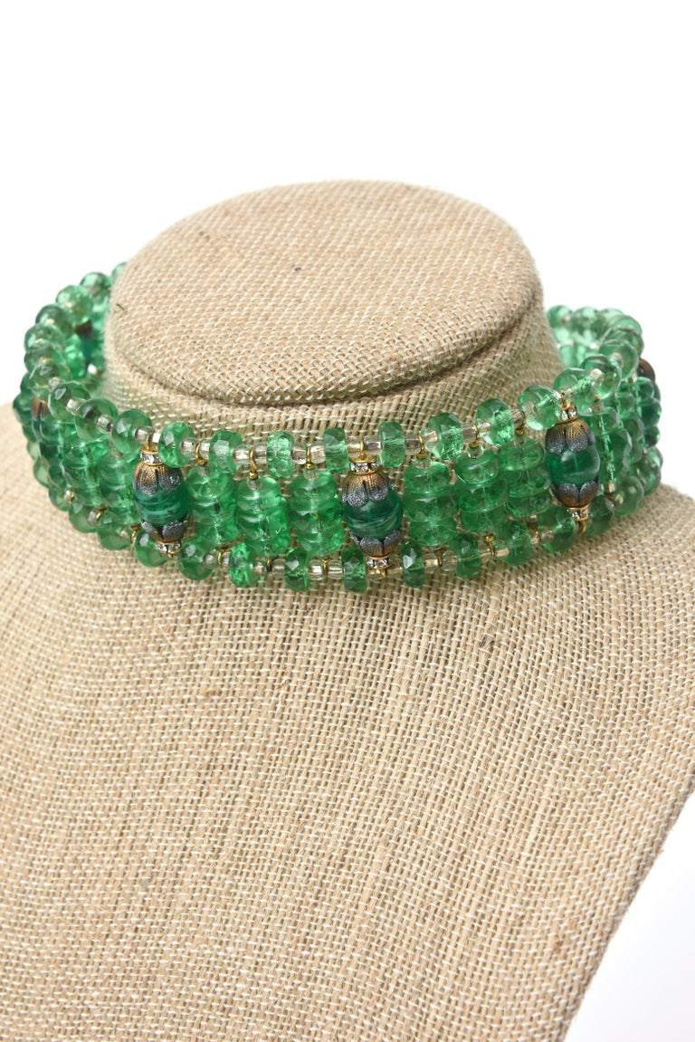 Miriam Haskell Beaded Green Glass Choker & Matching Dangle Earrings Set Vintage For Sale 5