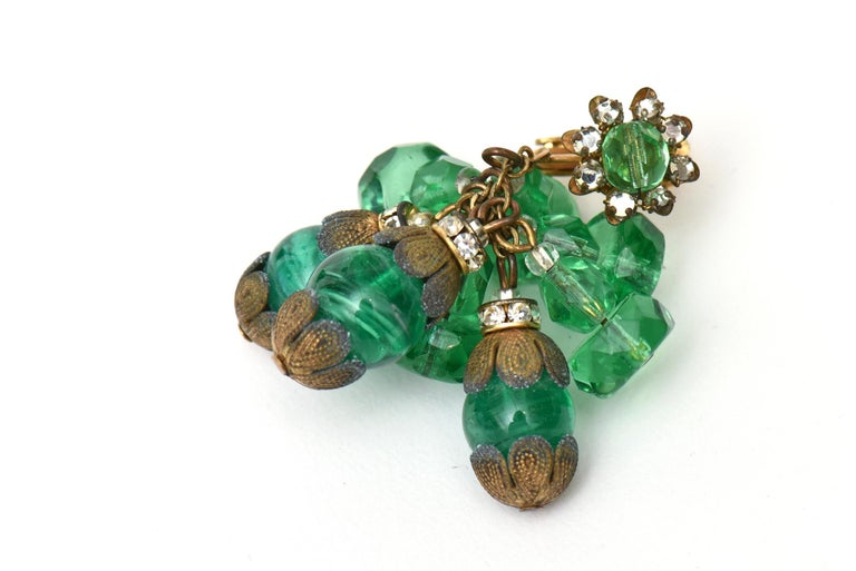 Miriam Haskell Beaded Green Glass Choker & Matching Dangle Earrings Set Vintage For Sale 2