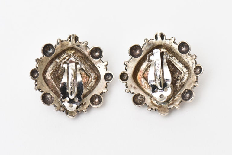 Stephen Dweck Sterling Silver Clip On Earrings Signed Vintage In Good Condition For Sale In North Miami, FL
