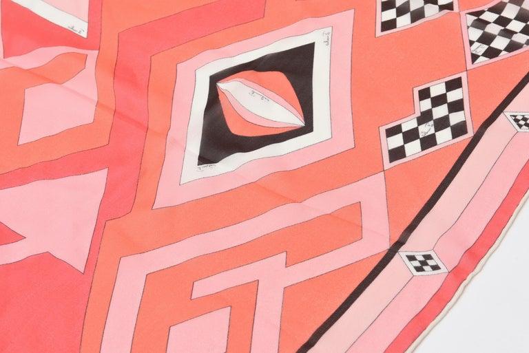 Pink Emilio Pucci Silk Chiffon Geometric Square Scarf Vintage For Sale