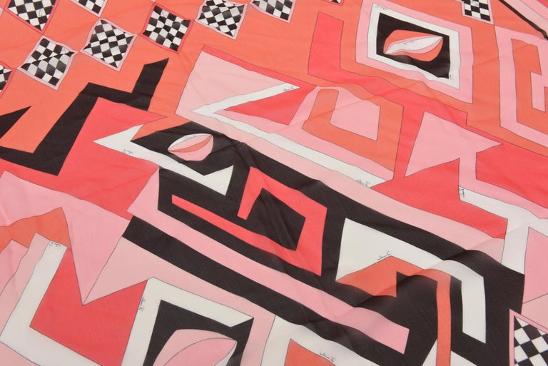 Women's Italian Vintage Pucci Silk Chiffon Square Scarf For Sale