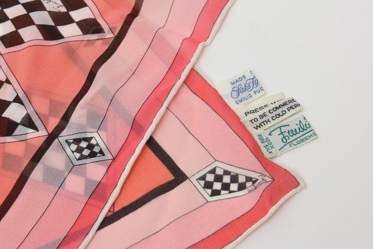 Italian Vintage Pucci Silk Chiffon Square Scarf For Sale 4