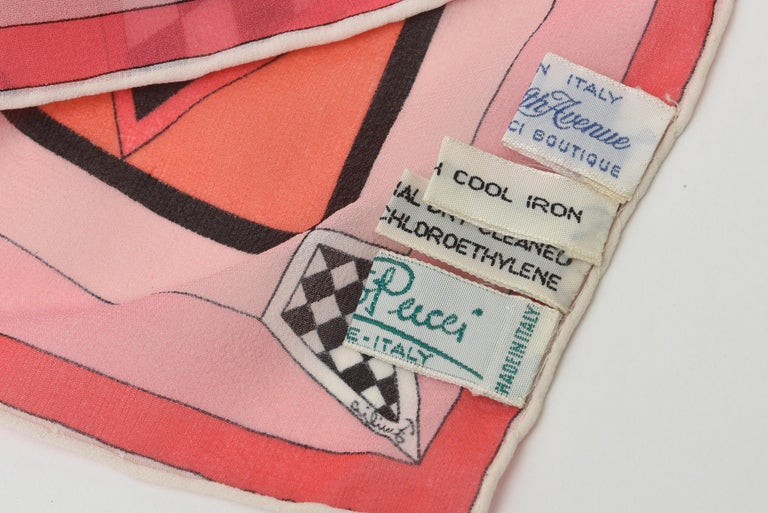 Emilio Pucci Silk Chiffon Geometric Square Scarf Vintage For Sale 5