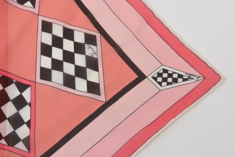 Emilio Pucci Silk Chiffon Geometric Square Scarf Vintage For Sale 3