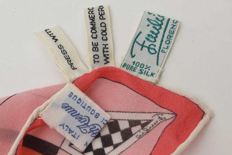 Emilio Pucci Silk Chiffon Geometric Square Scarf Vintage For Sale 6