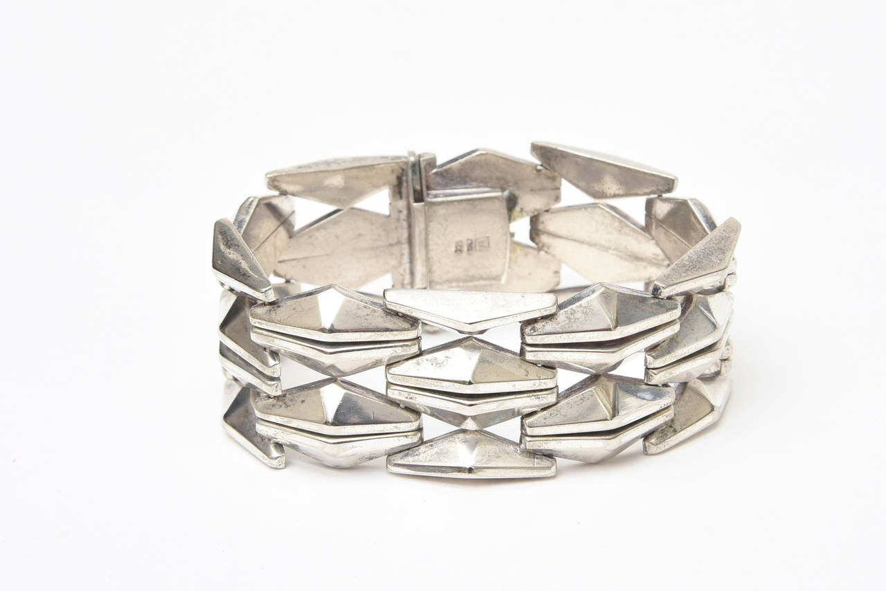 Sterling Silver Geometric Row Link Bracelet Vintage 60's Italian For Sale 2