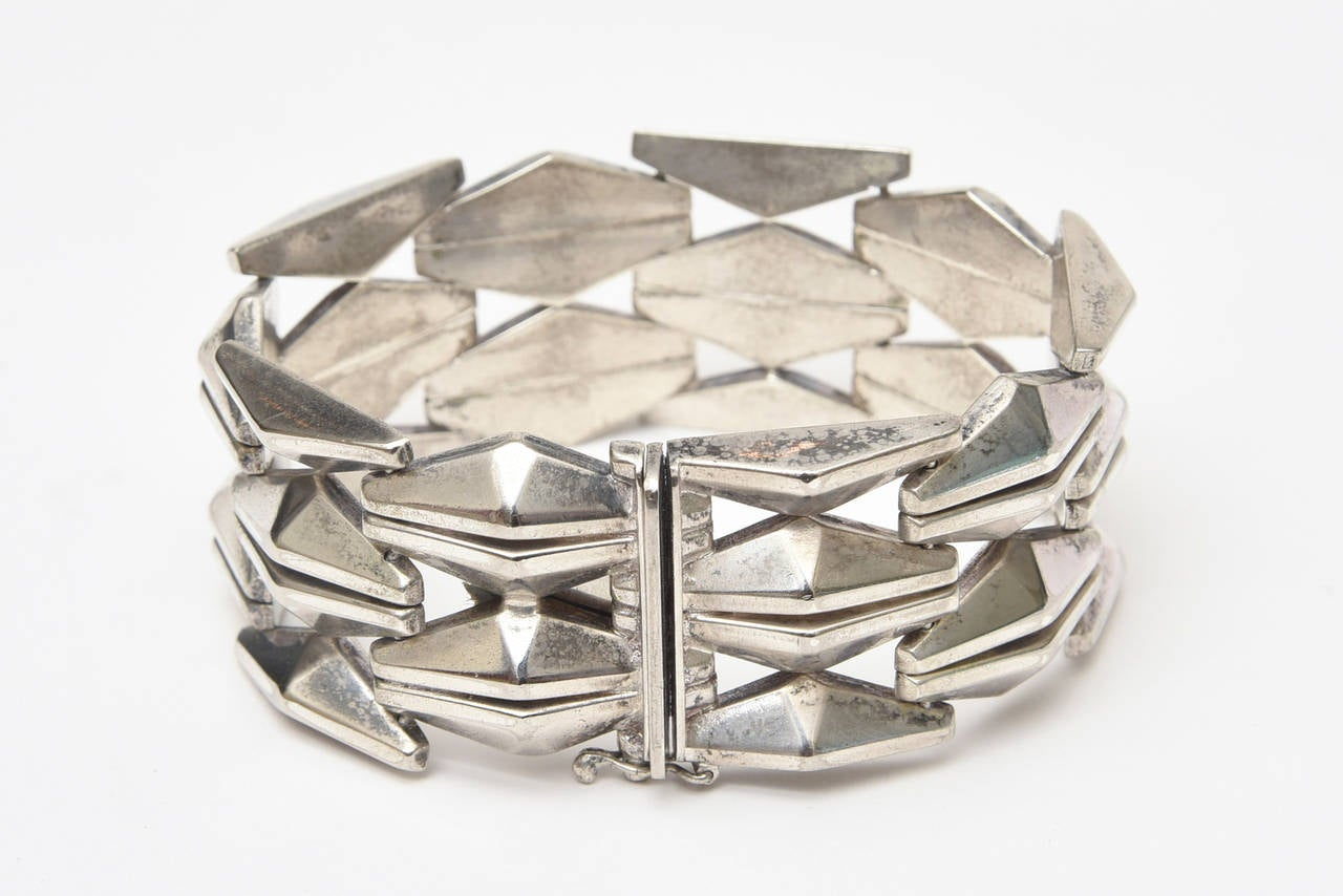 Sterling Silver Geometric Row Link Bracelet Vintage 60's Italian For Sale 3