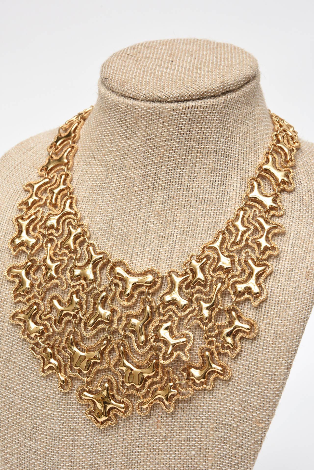 Monet Sculptural Bib Necklace Vintage For Sale 2