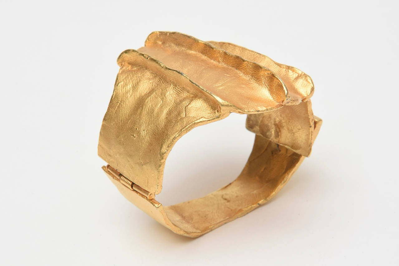 French Signed Gold Plated Modernist Cuff Bracelet 3