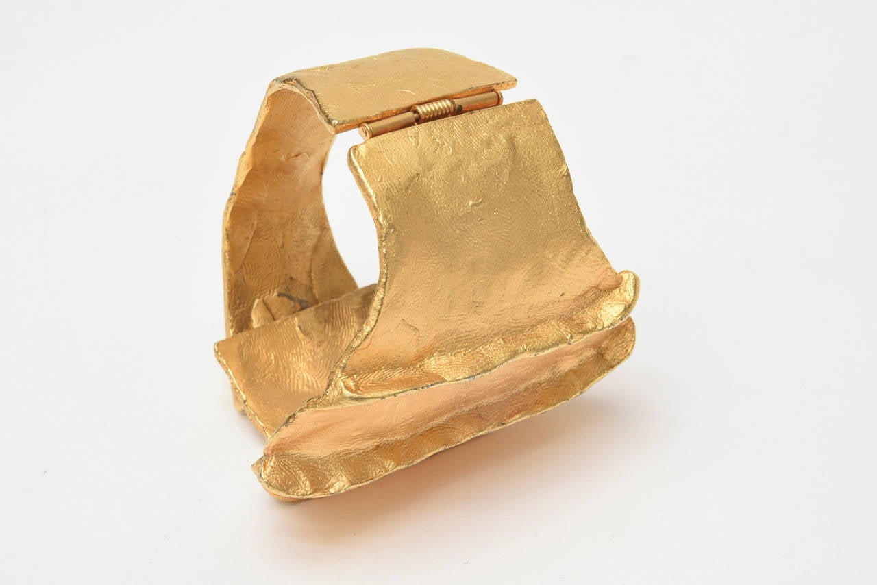 French Signed Gold Plated Modernist Cuff Bracelet 10