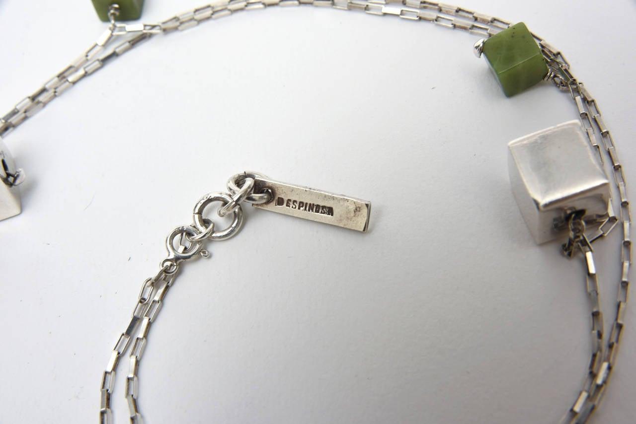 Modern Jade & Sterling Silver Dangle Sculptural  Cluster Necklace Signed For Sale