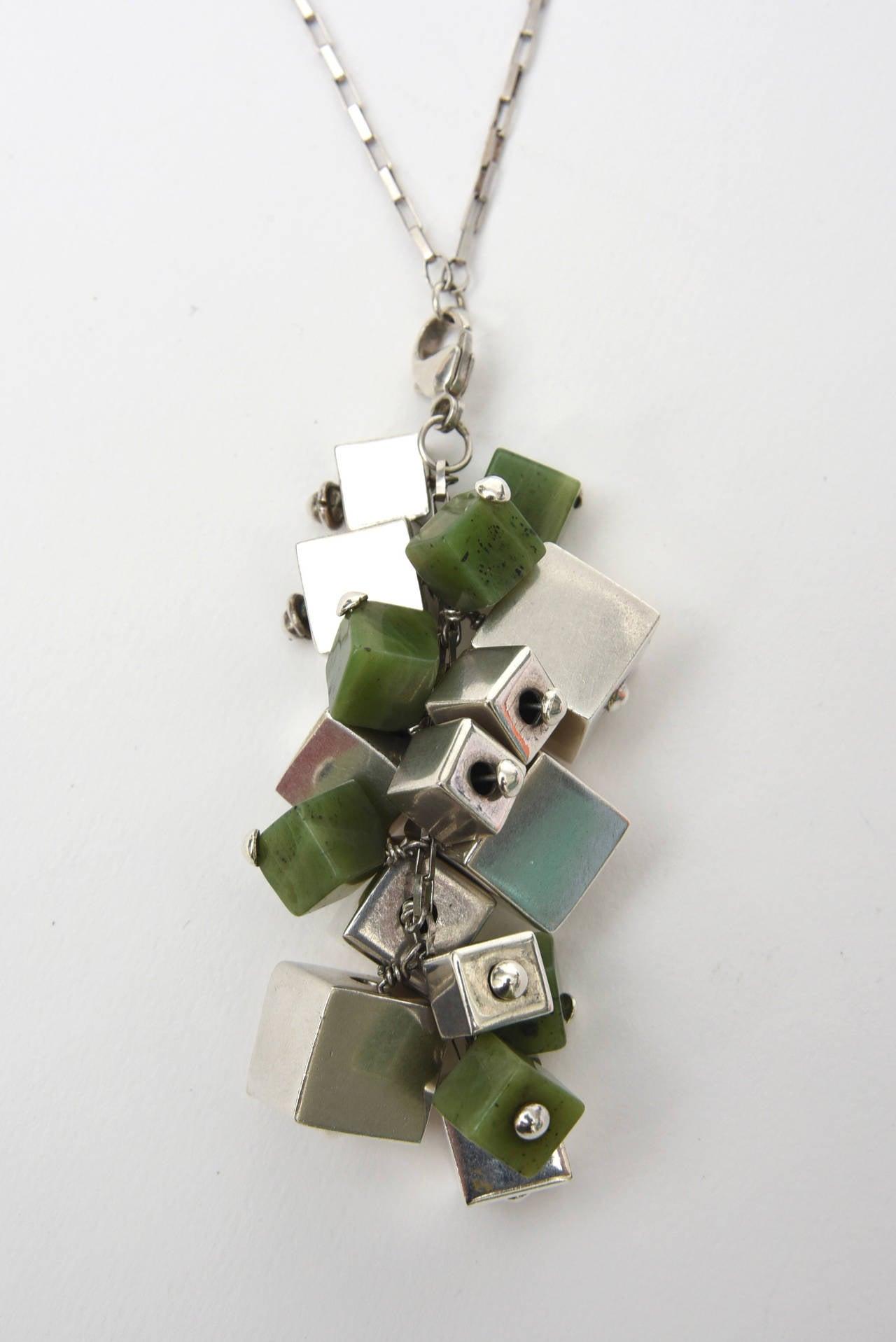 Women's Jade & Sterling Silver Dangle Sculptural  Cluster Necklace Signed For Sale