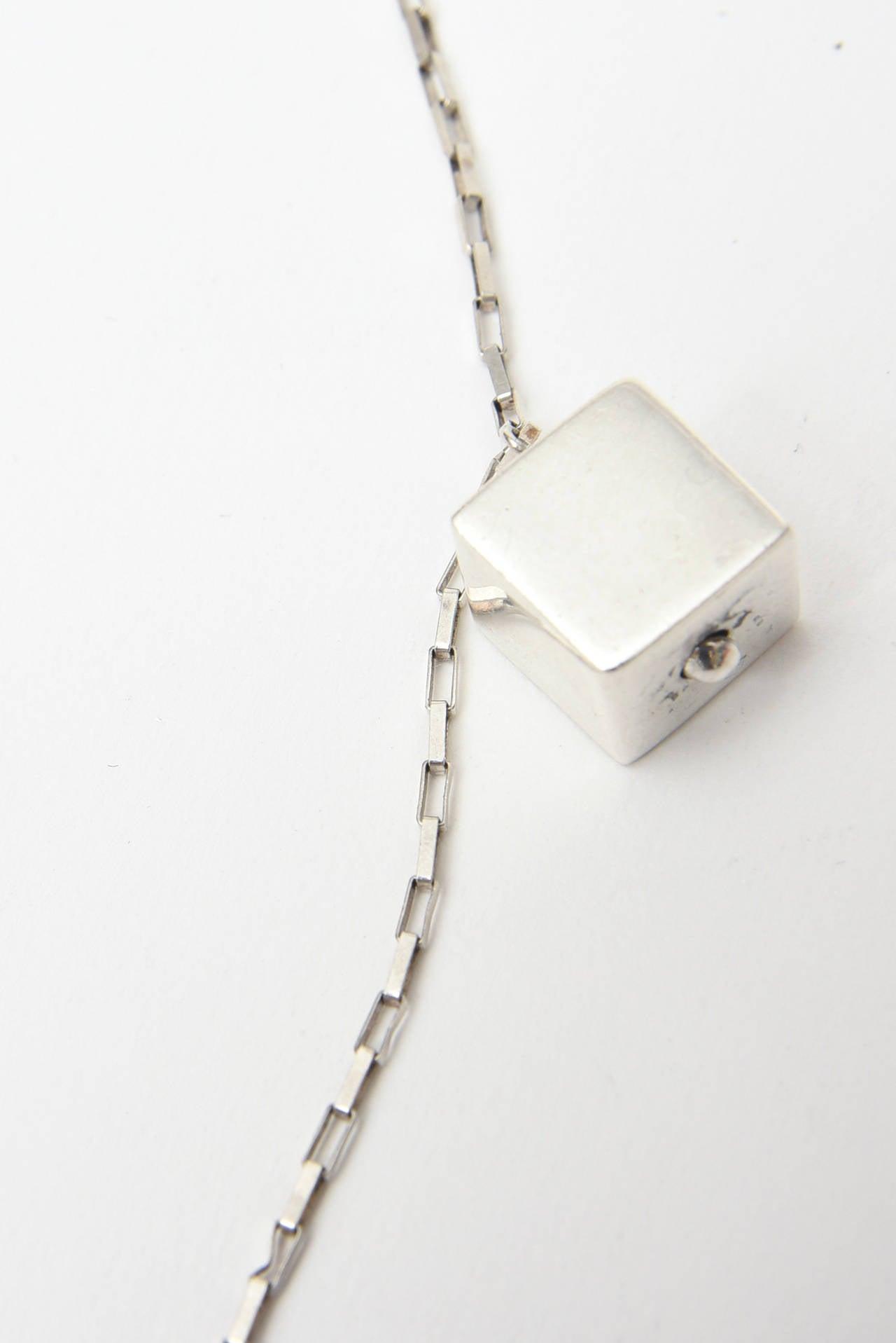 Jade & Sterling Silver Dangle Sculptural  Cluster Necklace Signed For Sale 1