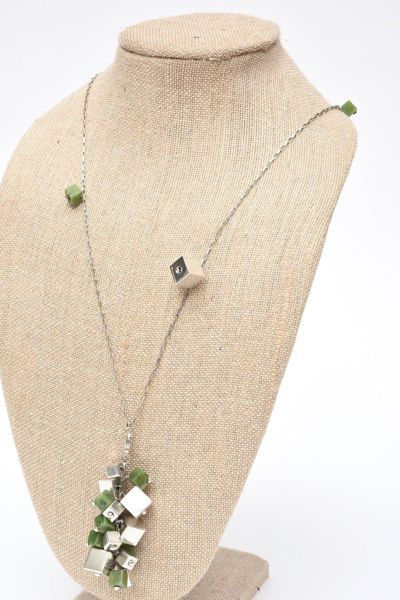 Jade & Sterling Silver Dangle Sculptural  Cluster Necklace Signed For Sale 2